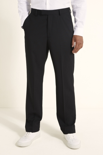 Moss 1851 Regular Fit Machine Washable Black Plain Trousers with Stretch