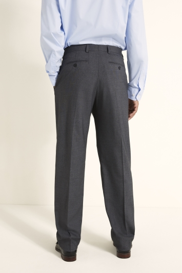 Moss 1851 Regular Fit Machine Washable Mid Grey Plain Trousers with Stretch