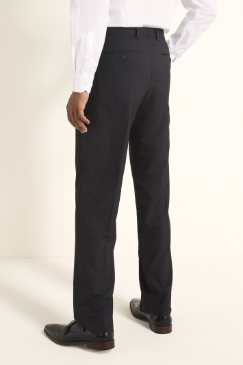 Moss 1851 Regular Fit Machine Washable Charcoal Plain Trousers with Stretch