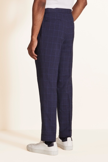 Moss 1851 Tailored Fit Navy Check Trousers
