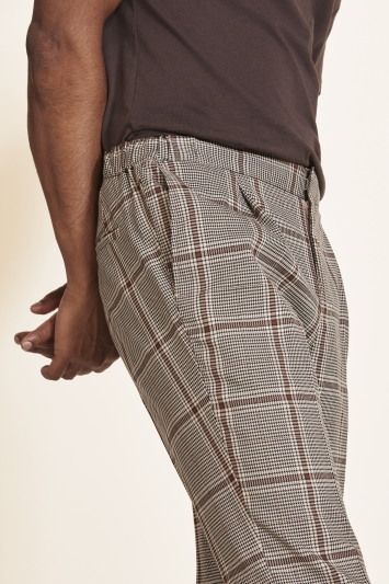 Moss 1851 Tailored Fit Caramel Check Trousers
