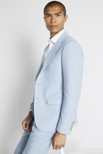 Moss London Slim Fit Light Blue Tweed Jacket