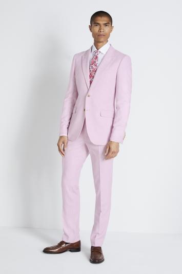 Moss London Slim Fit Pale Pink Tweed Jacket