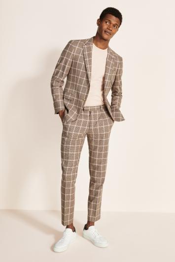 Moss London Slim Fit Brown with Pink Windowpane Tweed Jacket