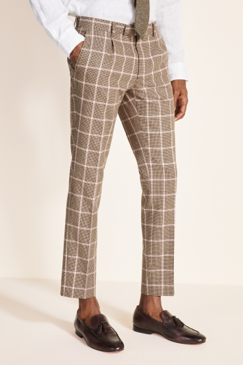 Moss London Slim Fit Brown with Pink Windowpane Trousers