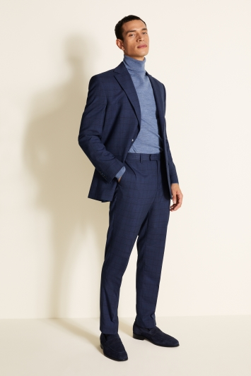 Moss 1851 Tailored Fit Blue Turquoise Check Jacket