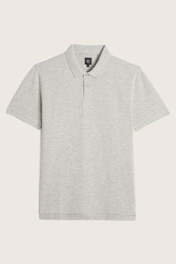 Grey Melange Pique Polo Shirt