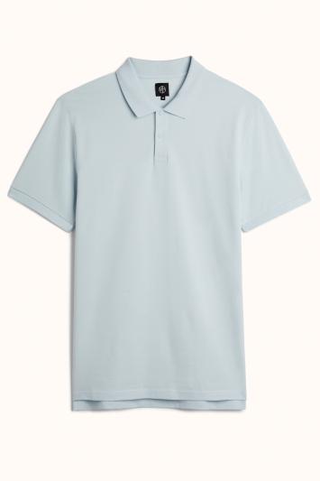 Powder Blue Pique Polo Shirt