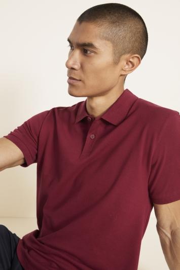 Burgundy Melange Pique Polo Shirt