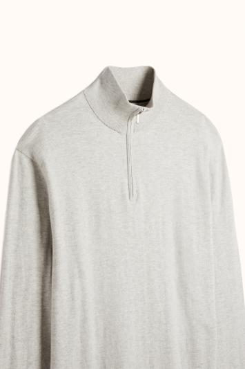 Stone Grey Cotton-Cashmere Zip-Neck Jumper