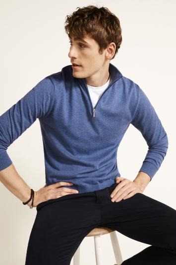 Harbour Blue Cotton-Cashmere Zip-Neck Jumper