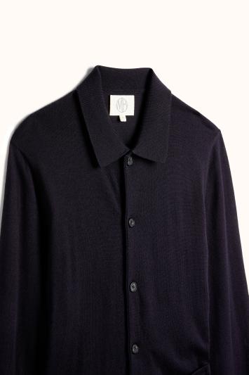 Navy Merino-Blend Long-Sleeve Button-Through Polo