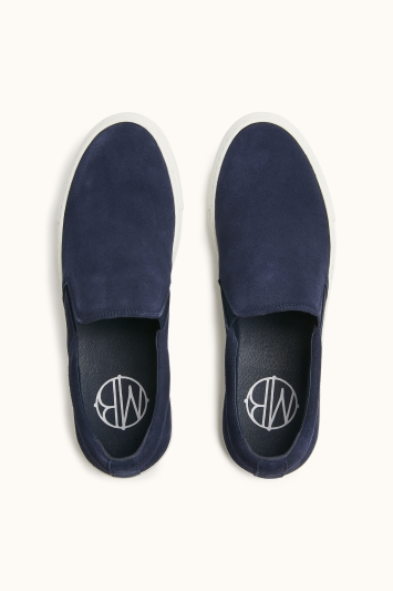 MB by Moss Bros Dulwich Navy Suede Cupsole Slip-On Trainer
