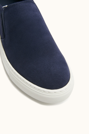 Moss Bros Dulwich Navy Suede Cupsole Slip-On Trainer