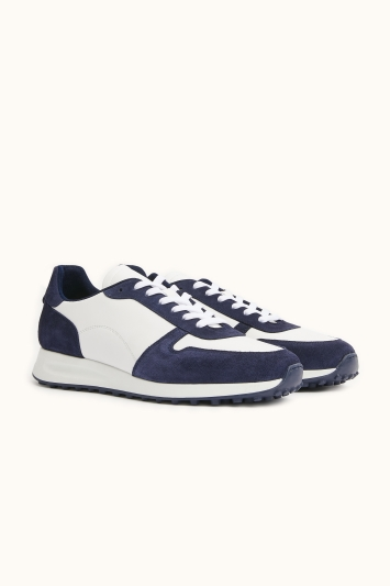 Moss Bros Brixton White & Navy Leather & Suede Smart Trainer