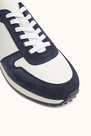 MB by Moss Bros Brixton White & Navy Leather & Suede Smart Trainer