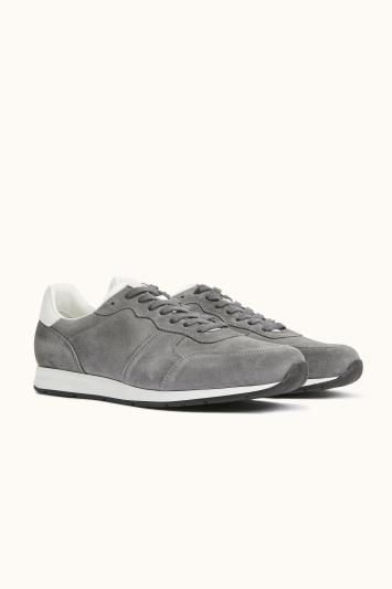 Peckham Grey Suede & Leather Smart Trainer