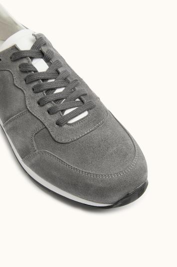 Moss Bros Peckham Grey Suede & Leather Smart Trainer