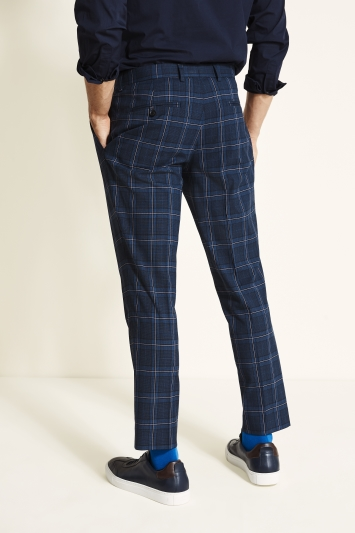 Moss London Slim Fit Navy with Pink Check Cropped Trouser