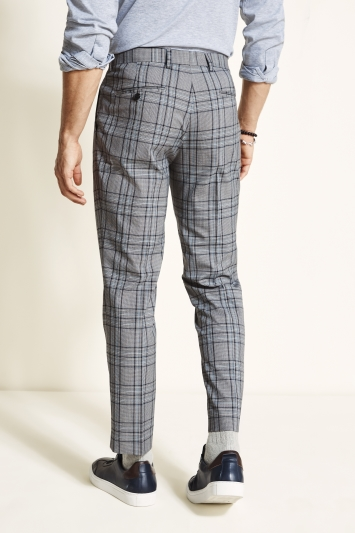 Moss London Slim Fit Grey with Navy Sky Check Cropped Trouser