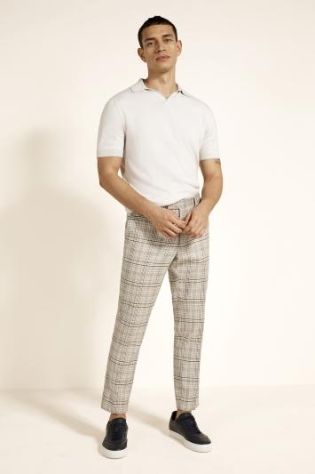Moss London Slim Fit Neutral Check Trouser