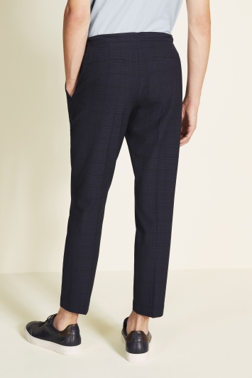 Moss London Slim Fit Navy Seersucker Trouser