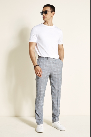 Moss 1851 Regular Fit Black & White with Sky Windowpane Trousers