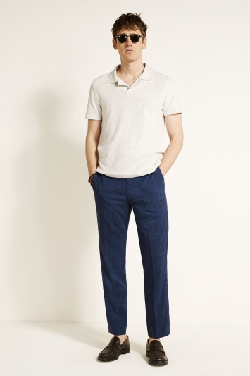 Moss 1851 Regular Fit Blue Check Trousers