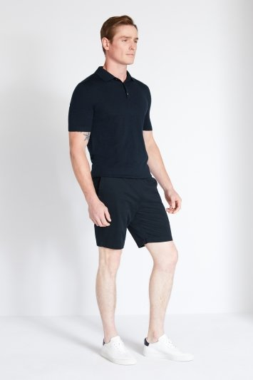MB by Moss Bros Navy Chino Stretch Waistband Shorts