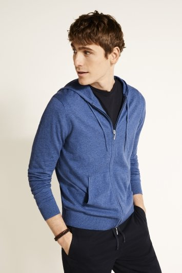Harbour Blue Cotton-Cashmere Knitted Zip-Up Hoodie