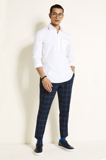 Tailored Fit White Popover Stretch Shirt