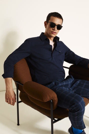 Tailored Fit Navy Popover Stretch Shirt