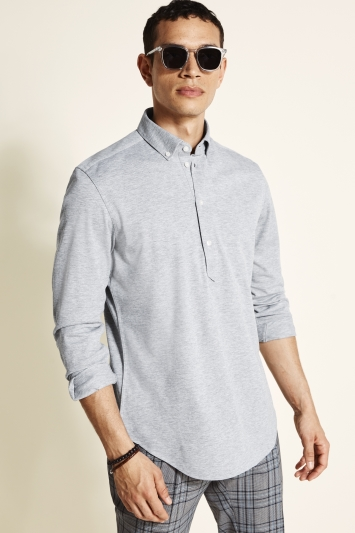 Tailored Fit Grey Long Sleeve Popover Shirt