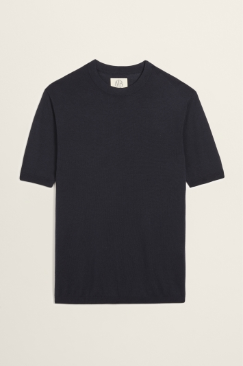 Navy Tencel-Wool Knitted T-Shirt