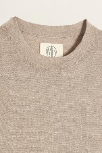 Oatmeal Tencel-Wool Knitted T-Shirt