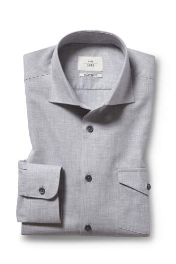 Moss 1851 Tailored Fit Grey Long Sleeve Overshirt