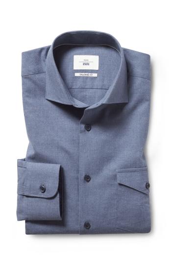 Moss 1851 Tailored Fit Blue Long Sleeve Overshirt