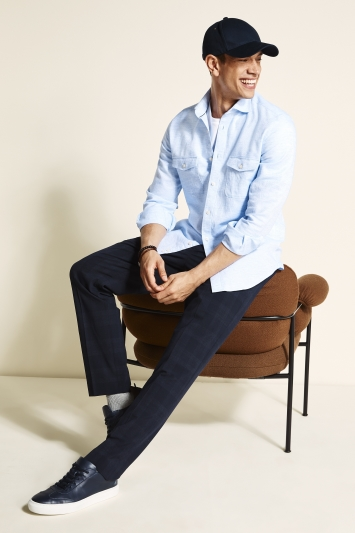 MB by Moss Bros Tailored Fit Sky Long Sleeve Overshirt