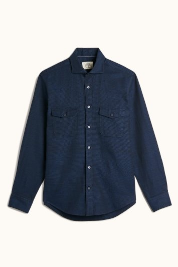 MB by Moss Bros Tailored Fit Navy Long Sleeve Overshirt