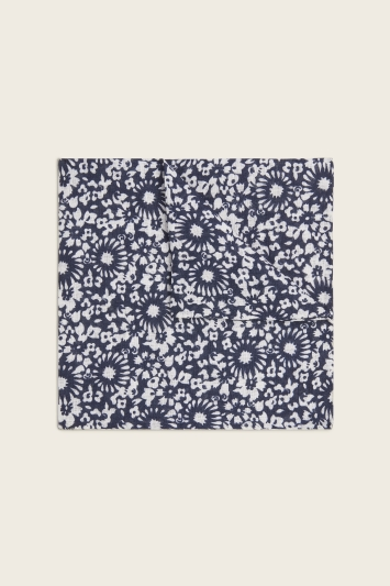 Moss 1851 Navy & White Floral Print Italian Linen Pocket Square