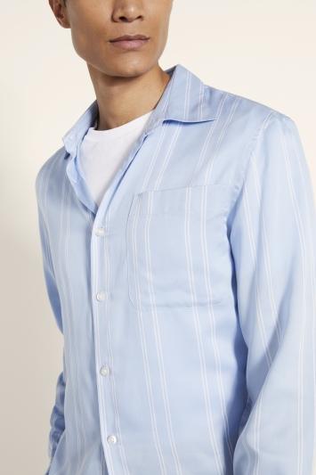 Moss London Slim Fit Blue Tencel Stripe Shirt