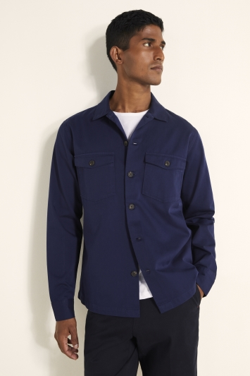 MB by Moss Bros Tailored Fit Navy Two Pocket Overshirt