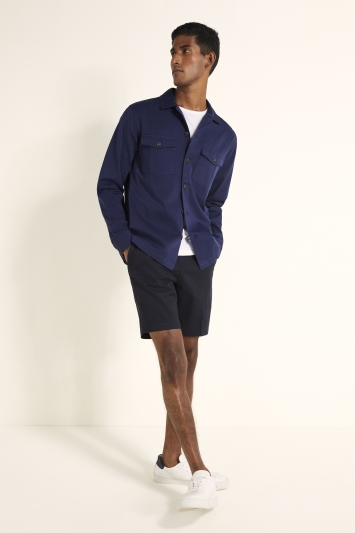 Tailored Fit Navy Two Pocket Overshirt