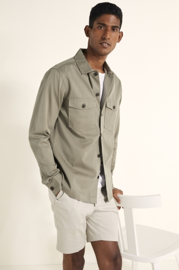 MB by Moss Bros Tailored Fit Khaki Two Pocket Overshirt