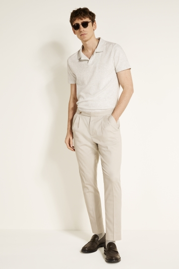 MB by Moss Bros Slim Fit Beige Carrot Shape Chino