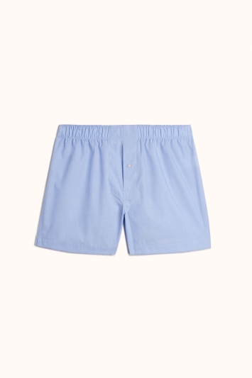 French Blue Cotton Twill Woven Boxer Short