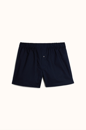 Navy Spot Print Cotton Twill Woven Boxer Short