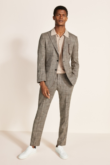 Moss 1851 Tailored Fit Brown Check Jacket