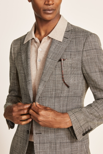 Moss 1851 Tailored Fit Brown Check Check Jacket