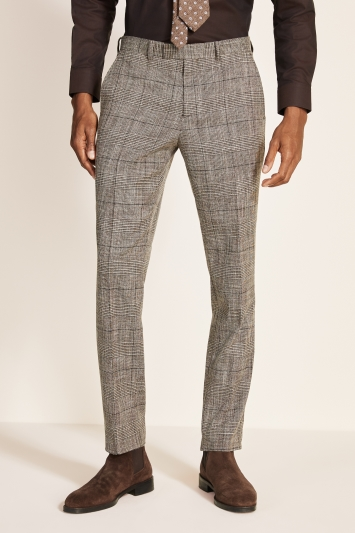 Moss 1851 Tailored Fit Brown Check Trouser
